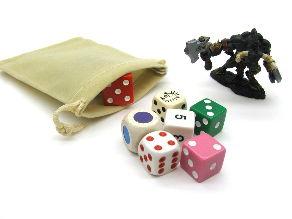 "3"" x 4"" Soft Drawstring Gaming Pouch Dice Bag - Beige"