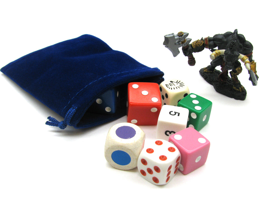 "3"" x 4"" Soft Drawstring Gaming Pouch Dice Bag - Blue"
