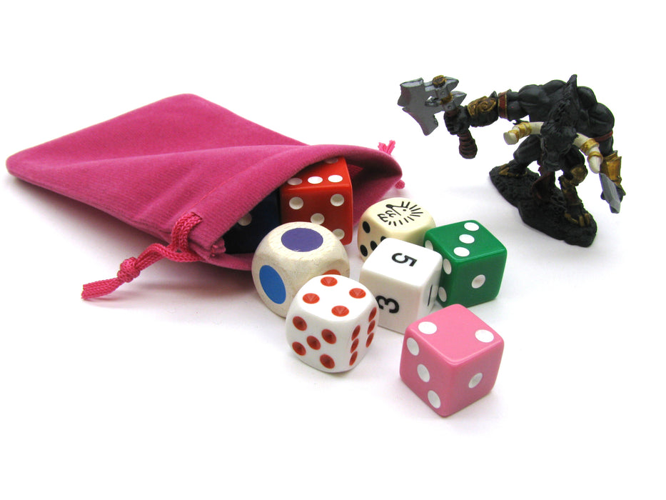 "3"" x 4"" Soft Drawstring Gaming Pouch Dice Bag - Pink"
