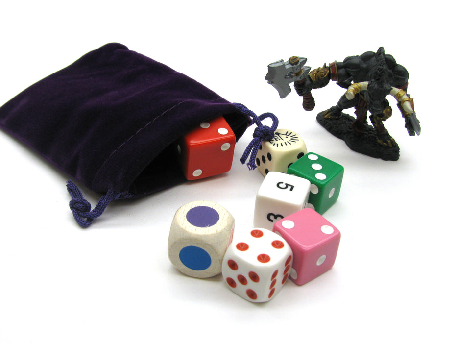 "3"" x 4"" Soft Drawstring Gaming Pouch Dice Bag - Purple"