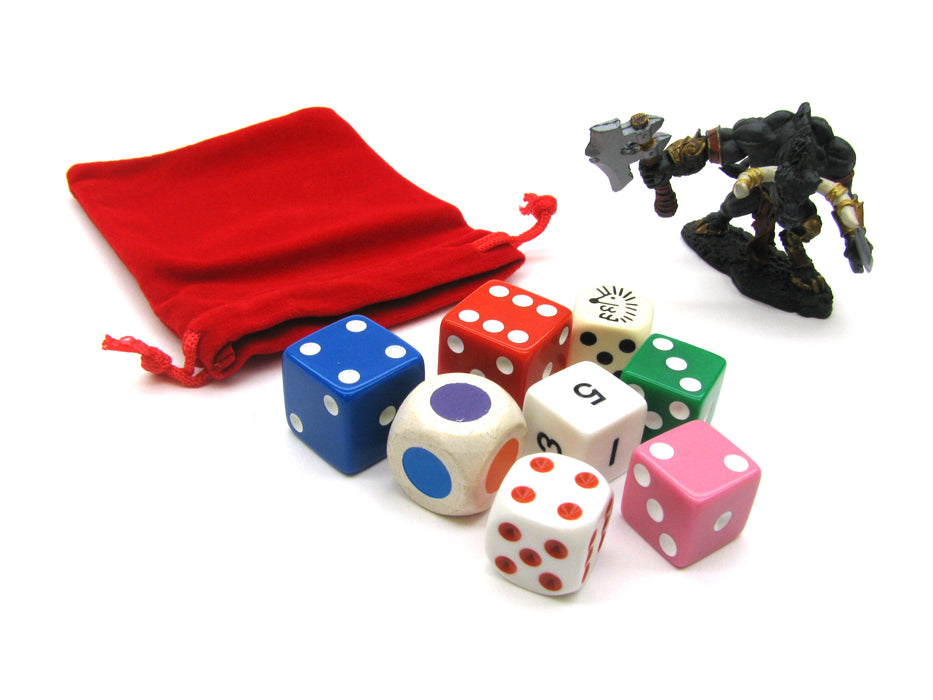 "3"" x 4"" Soft Drawstring Gaming Pouch Dice Bag - Red"