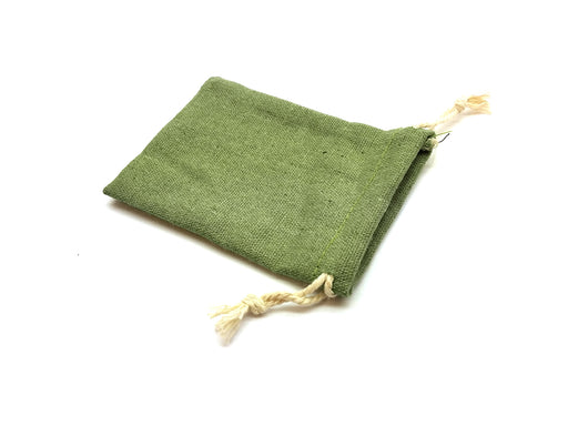 "3""x4"" Quality Cotton Drawstring Gaming Pouch Dice Bag - Green"