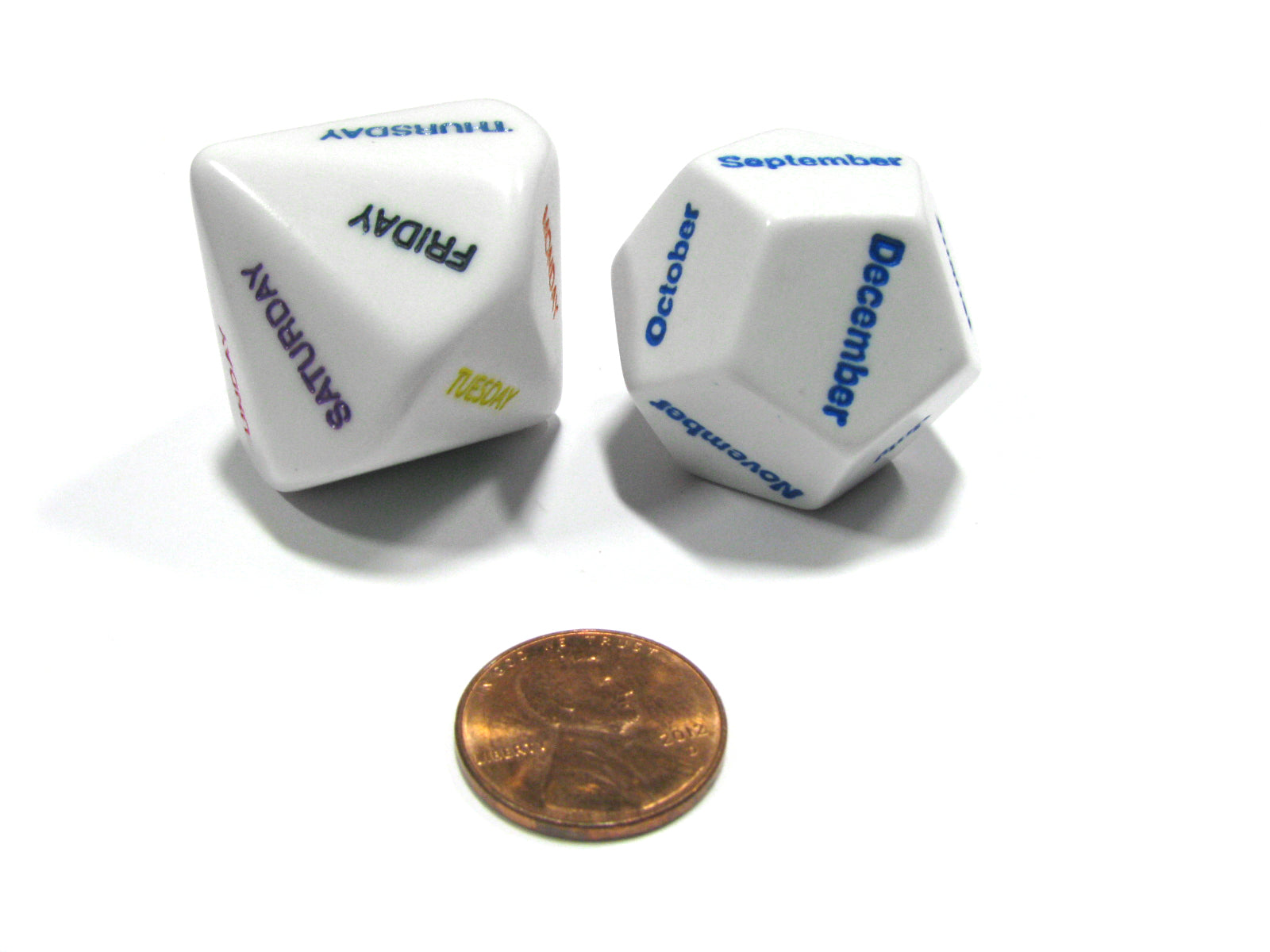 Day and Month Setting Dice - 1 Days of the Week and 1 Months of the Year Dice