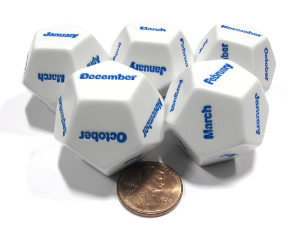 Set of 5 D12 Months of the Year Setting Educational Dice-White with Blue Letters