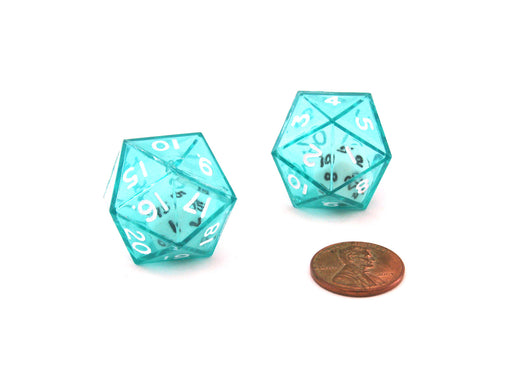 Set of 2 D20 24mm Double Dice, 2-In-1 Dice - White Inside Translucent Green Die