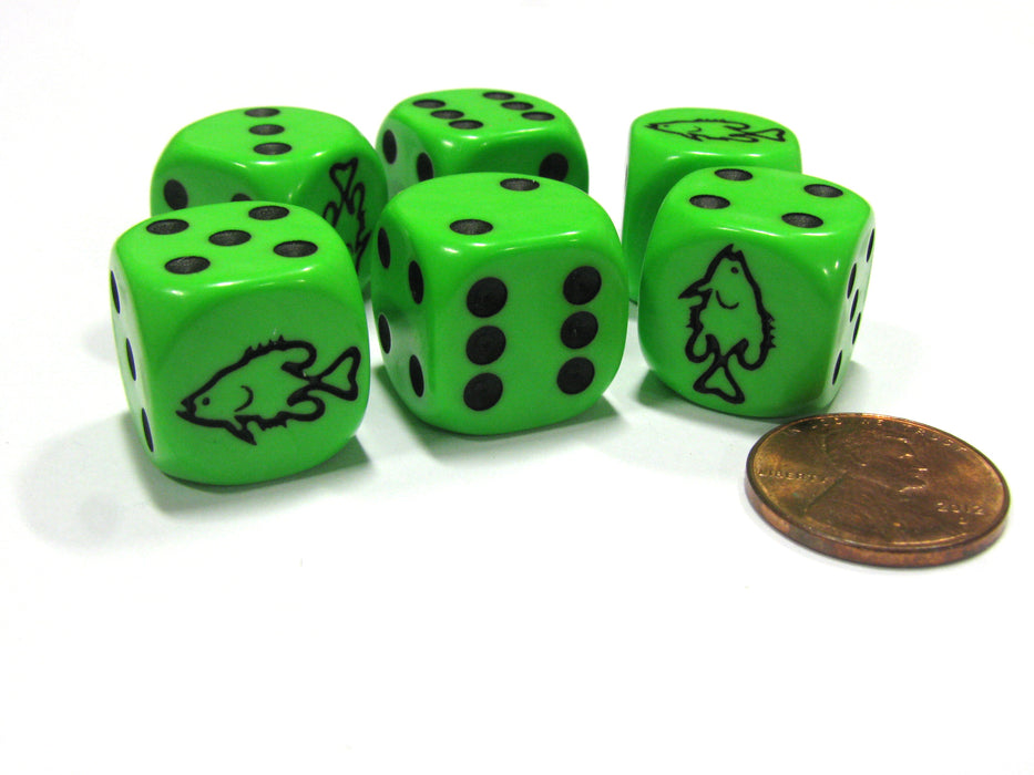 Set of 6 Fish 16mm D6 Round Edged Koplow Animal Dice - Green with Black Pips
