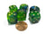 Set of 6 Beetle 16mm D6 Round Edge Animal Dice - Blue-Green with Gold Pips