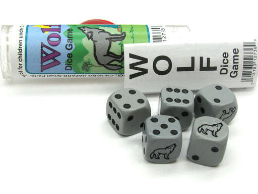 Wolf Dice Game 5 Dice Set with Travel Tube and Instructions