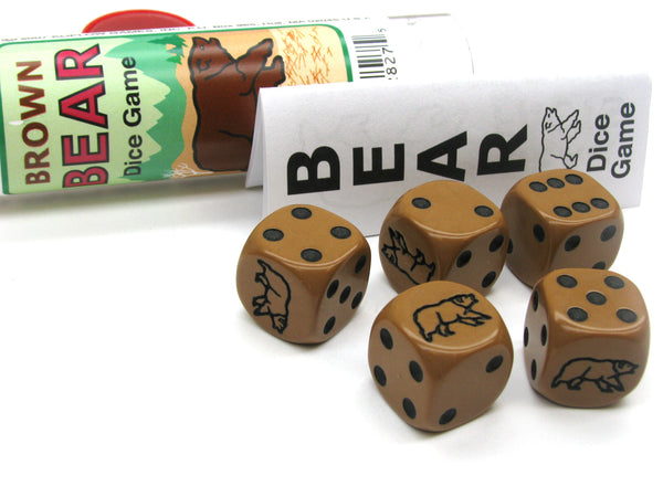 Brown Bear Dice Game 5 Dice Set with Travel Tube and Instructions