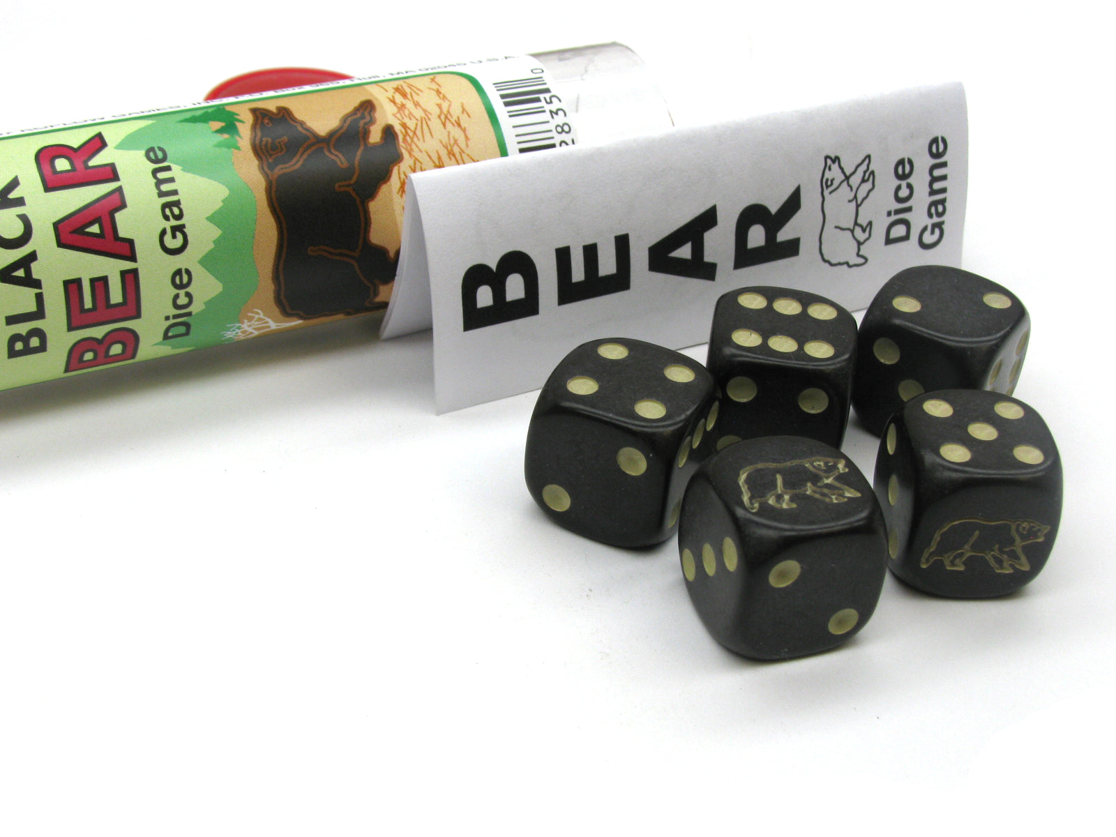 Black Bear Dice Game 5 Dice Set with Travel Tube and Instructions