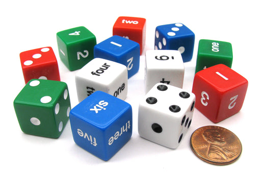 Pack of 12 16mm Educational Number Dice Set - Assorted Spots, Numbers & Words