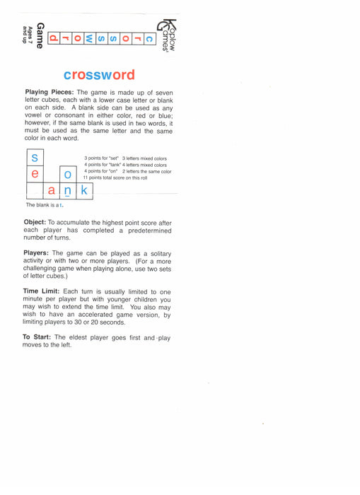 Crossword Dice Game 7 Dice Set with Travel Tube and Instructions