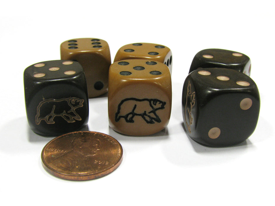 Set of 6 Bear 16mm D6 Round Edge Koplow Animal Dice - 3 Each of Black and Brown