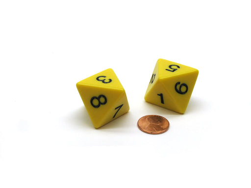 Pack of 2 D8 8-Sided Jumbo Opaque Dice - Yellow with Black Numbers