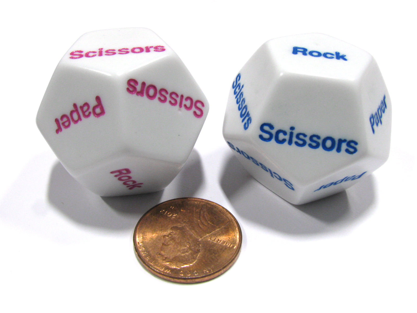 Set of 2 D12 Rock, Paper, Scissors Dice - 1 White with Blue, 1 White with Pink