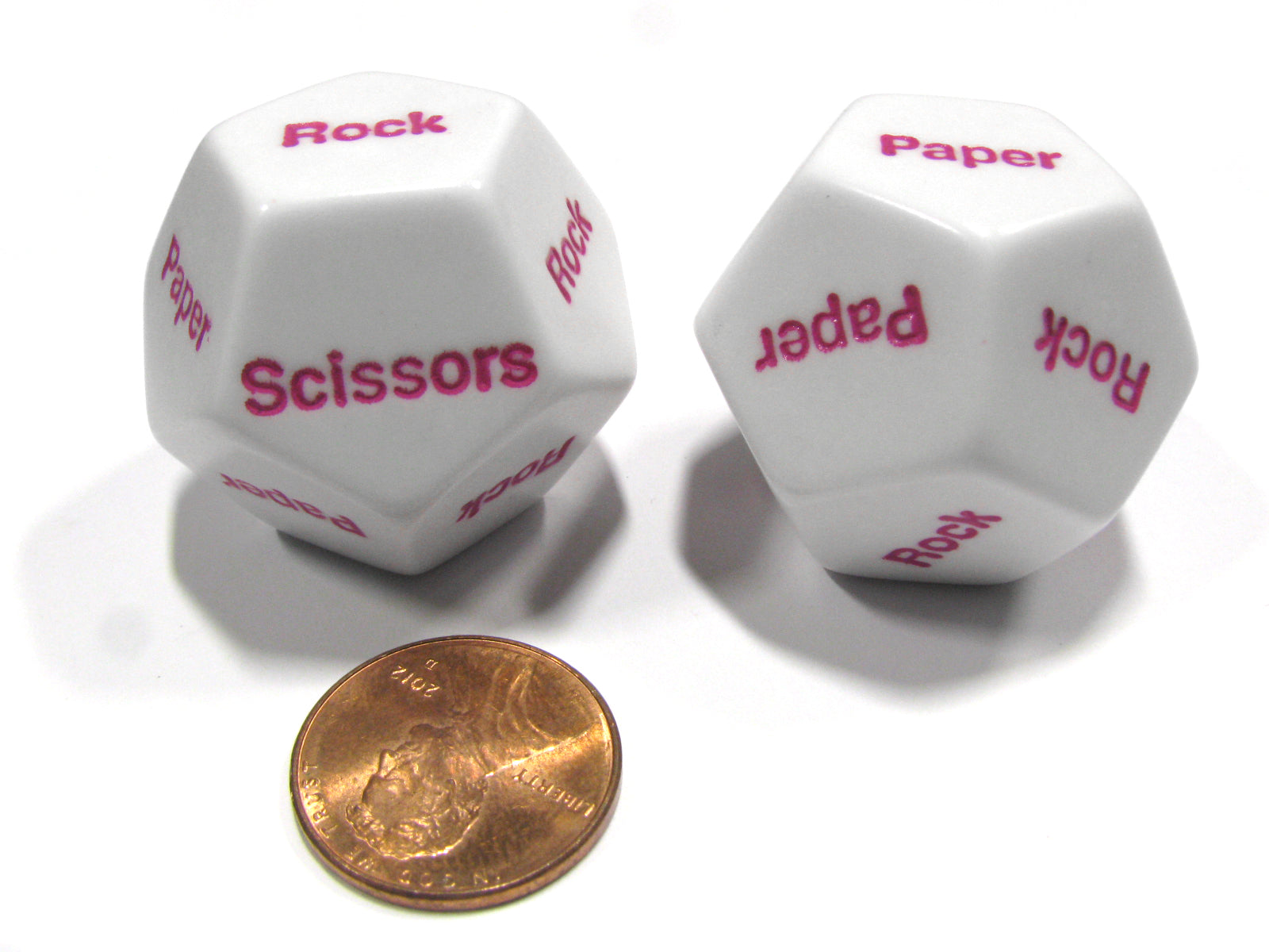 Set of 2 D12 12-Sided Rock, Paper, Scissors Game Dice - White with Pink Letters