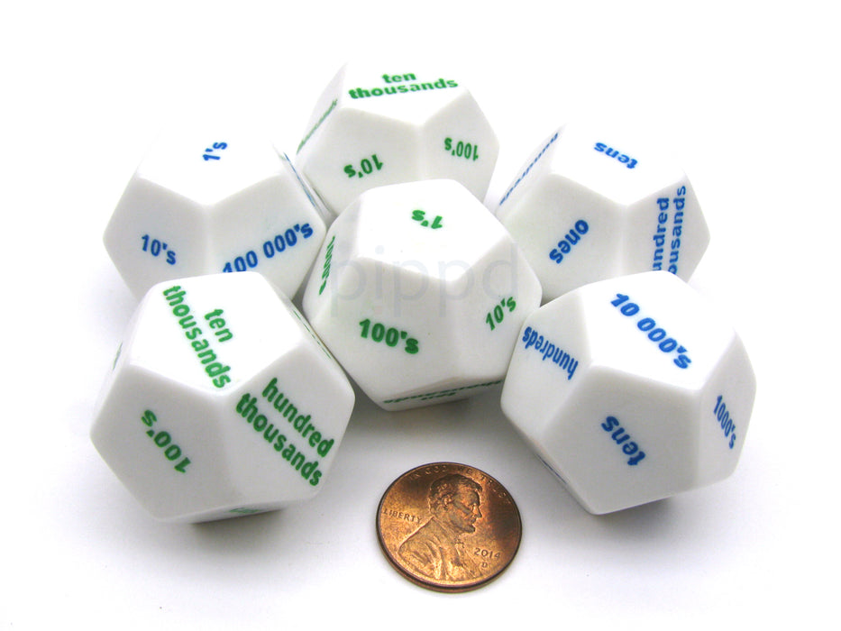 Pack of 6 D12 Large 28mm Place Value White Dice - 3 Green and 3 Blue Etches