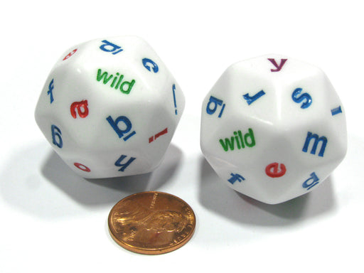 Set of 2 White Alphabet Lowercase Triantakohedron D30 30 Sided 30mm Jumbo Dice