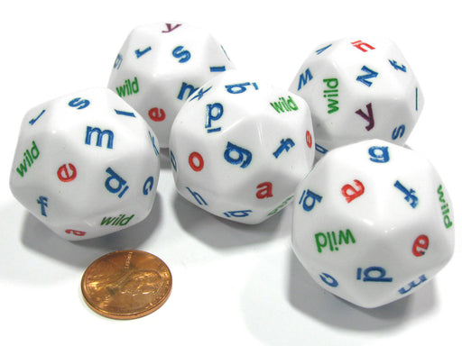 Set of 5 White Alphabet Lowercase Triantakohedron D30 30 Sided 30mm Jumbo Dice