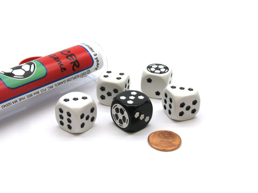 Soccer Dice Game 5 Dice Set with Travel Tube and Instructions