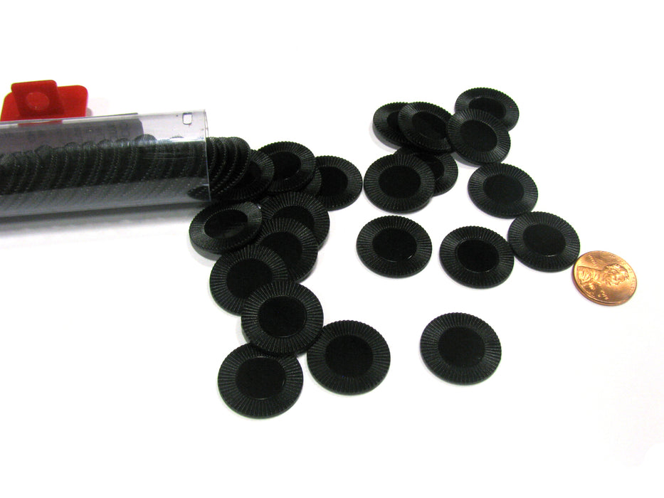 "Set of 50 7/8"" Easy Stacking Plastic Mini Playing Poker Chips - Black"