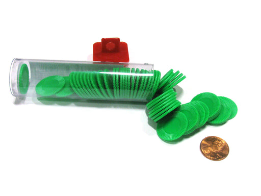 "Set of 50 7/8"" Easy Stacking Plastic Mini Playing Poker Chips - Green"
