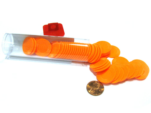 "Set of 50 7/8"" Easy Stacking Plastic Mini Playing Poker Chips - Orange"