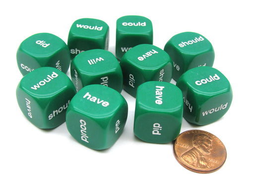 Pack of 10 16mm English Helping Verb Dice - Would Should Could Will Did Have