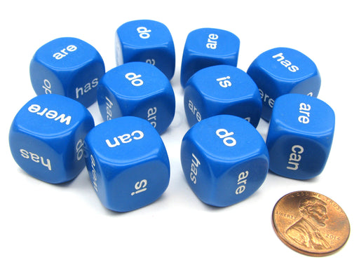 Pack of 10 16mm Educational English Being and Helping Verb Dice- Blue with White