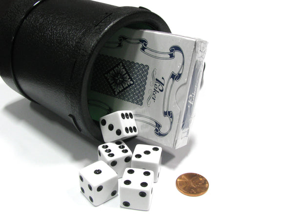 Heavy Duty Dice Cup w Twist Off Cover 5pc 16mm White Die & Playing Cards Travel