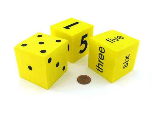 Pack of 3 50mm Large Foam Dice Numbered 1 to 6 with Spots, Words, and Numbers