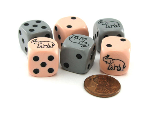 Set of 6 Elephant 16mm D6 Round Edged Koplow Animal Dice - 3 Pink and 3 Gray