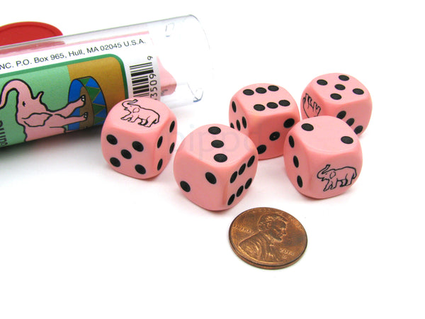 Pink Pachyderm Elephant Dice Game with 5 Dice Travel Tube and Game Instructions