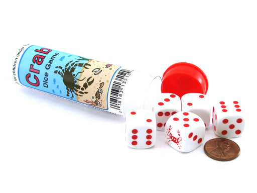 Crab Dice Game 5 Dice Set with Travel Tube and Instructions