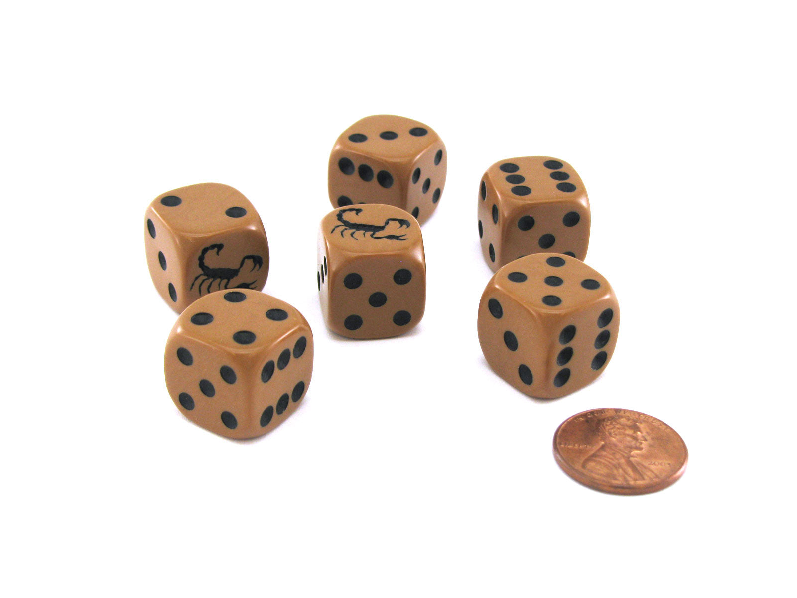 Set of 6 Scorpion 16mm D6 Round Edged Koplow Animal Dice