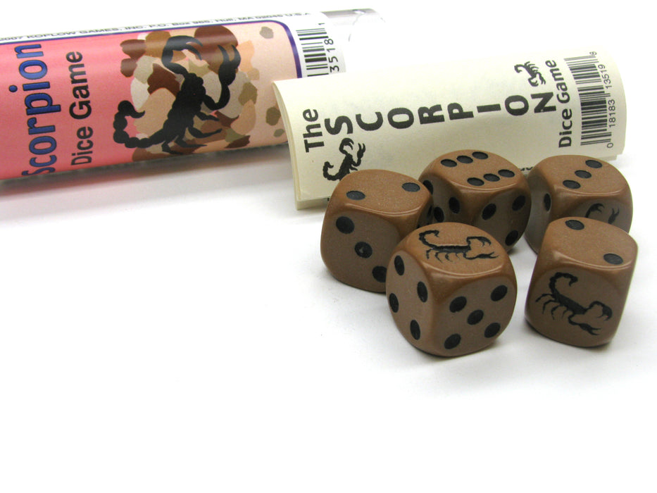 Scorpion Dice Game 5 Dice Set with Travel Tube and Instructions