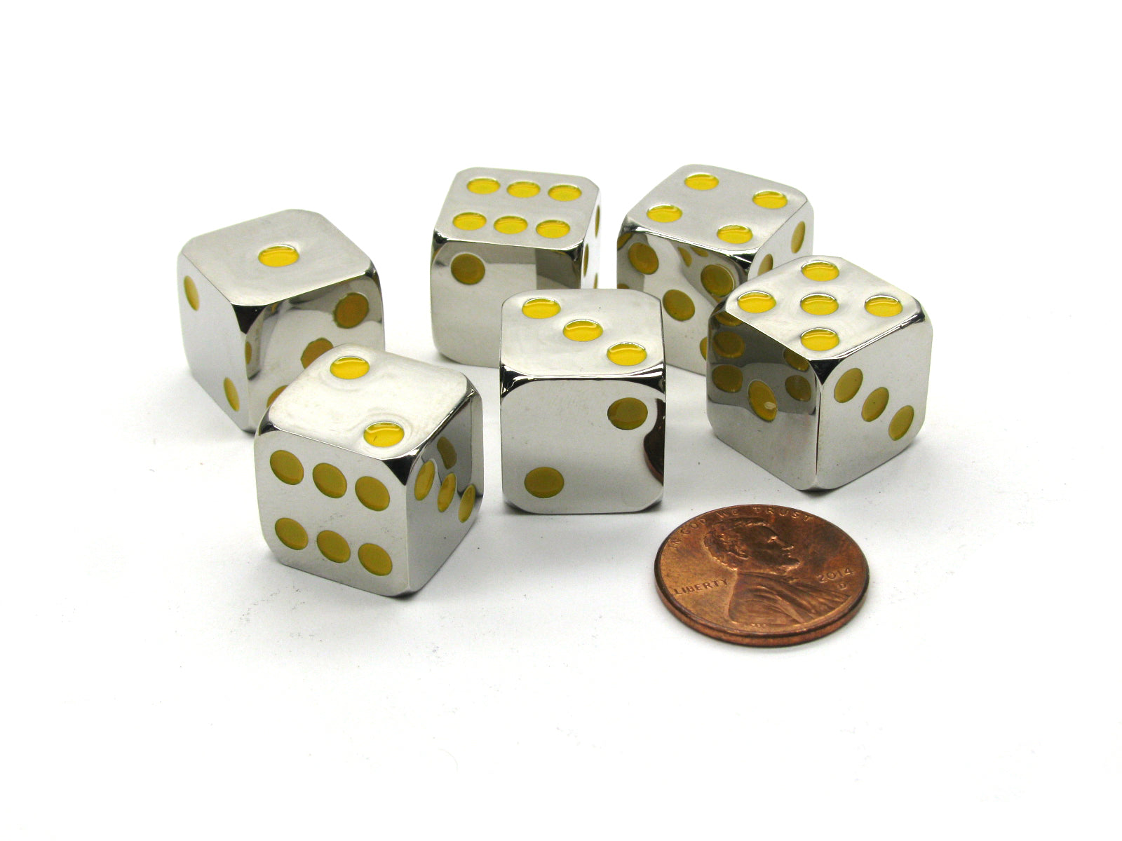 Box of 6 Zinc Metal Alloy D6 15mm Heavy Dice - Yellow Pips