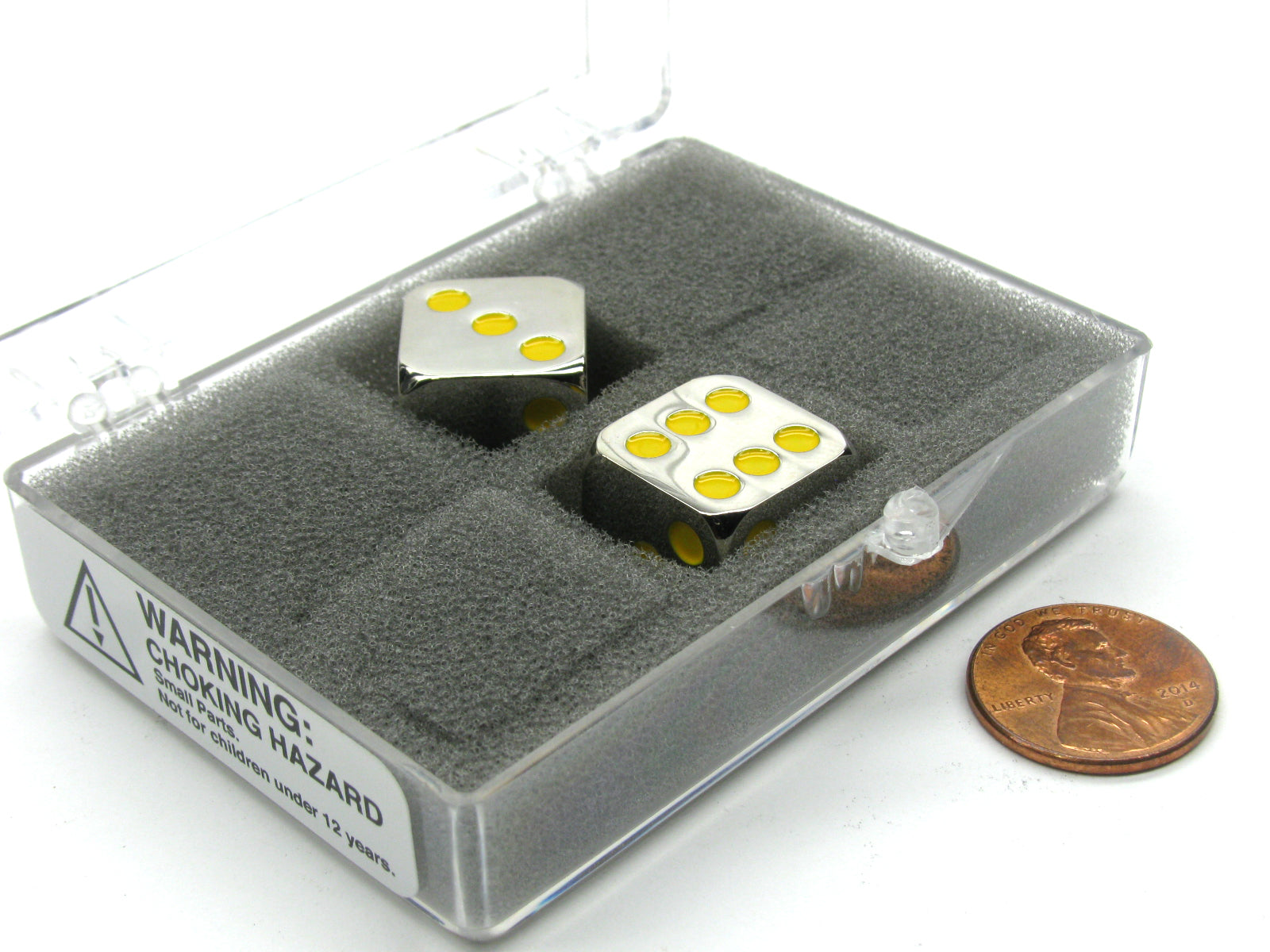 Box of 2 Zinc Metal Alloy D6 15mm Heavy Dice - Yellow Pips