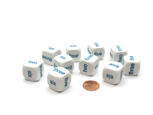 Pack of 10 20mm Math 1-6 Word Number Dice, English - White with Blue Words