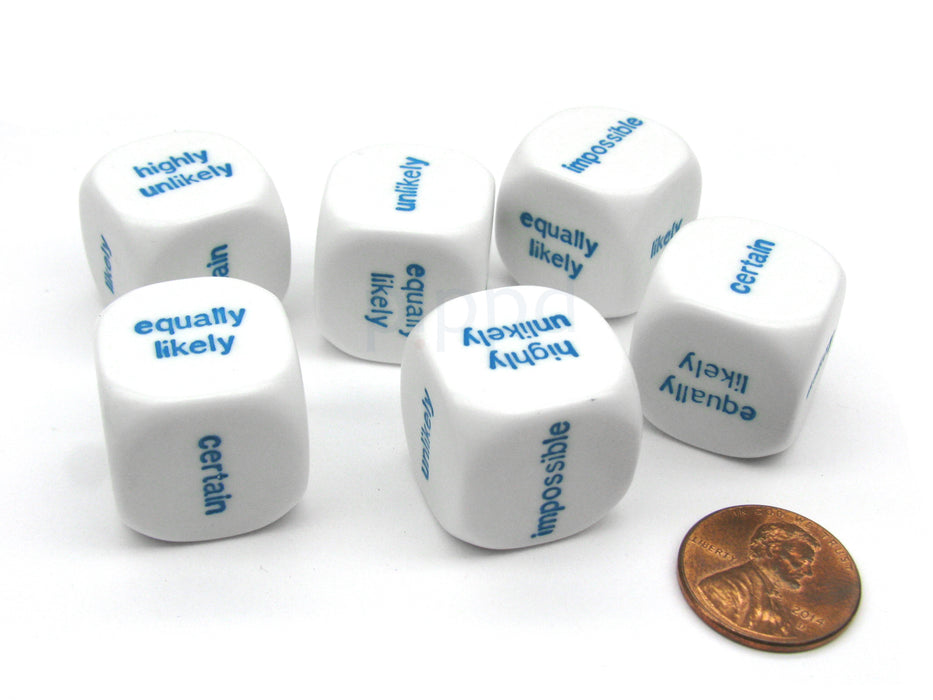 Pack of 6 20mm Educational English Probability Dice - White with Blue Words
