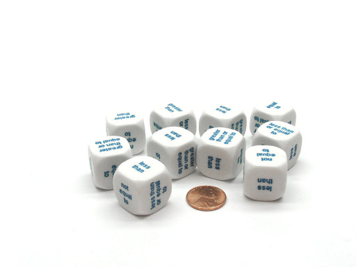 Pack of 10 20mm Logic Math Dice, English - White with Blue Words