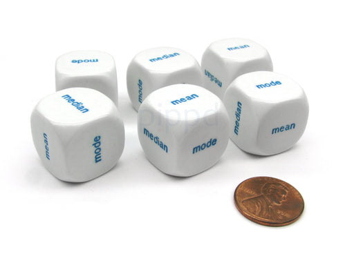 Pack of 6 20mm Educational Central Tendency Word Dice - Mode Mean Median