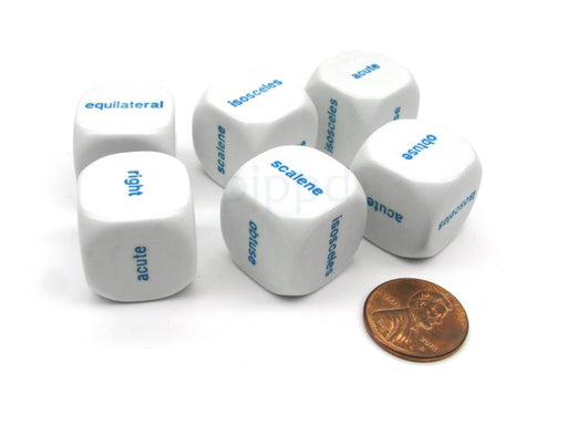 Pack of 6 20mm Educational Triangles Words Dice - White with Blue Words