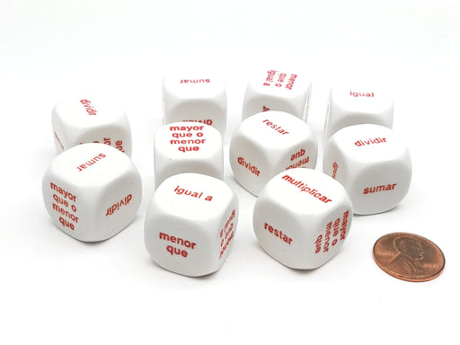 Pack of 10 20mm Math Word Dice 6 Function, Spanish Español Dice - White with Red