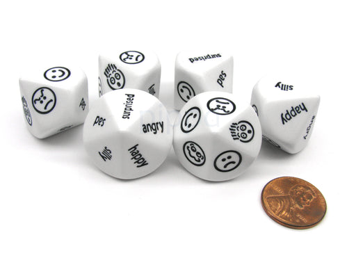 Pack of 6 D10 Expressions Dice - Angry Surprised Sad Silly Happy Faces and Words
