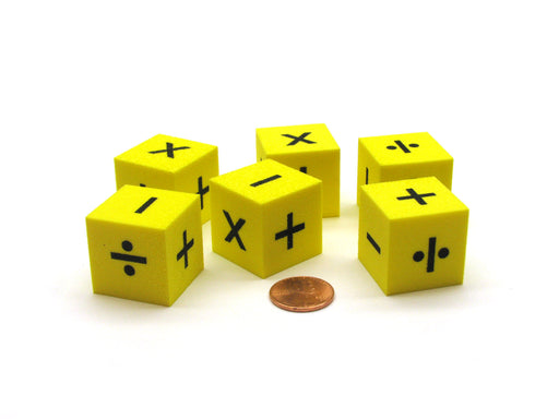 Pack of 6 25mm Square Foam Operations Dice - Yellow with Black Symbols