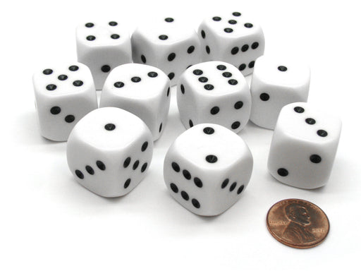 Pack of 10 D6 20mm Spotted 1 to 6 Dice with Rounded Corners - White with Black
