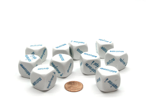 Pack of 10 20mm Math Operation Six Function French Word Dice - White with Blue