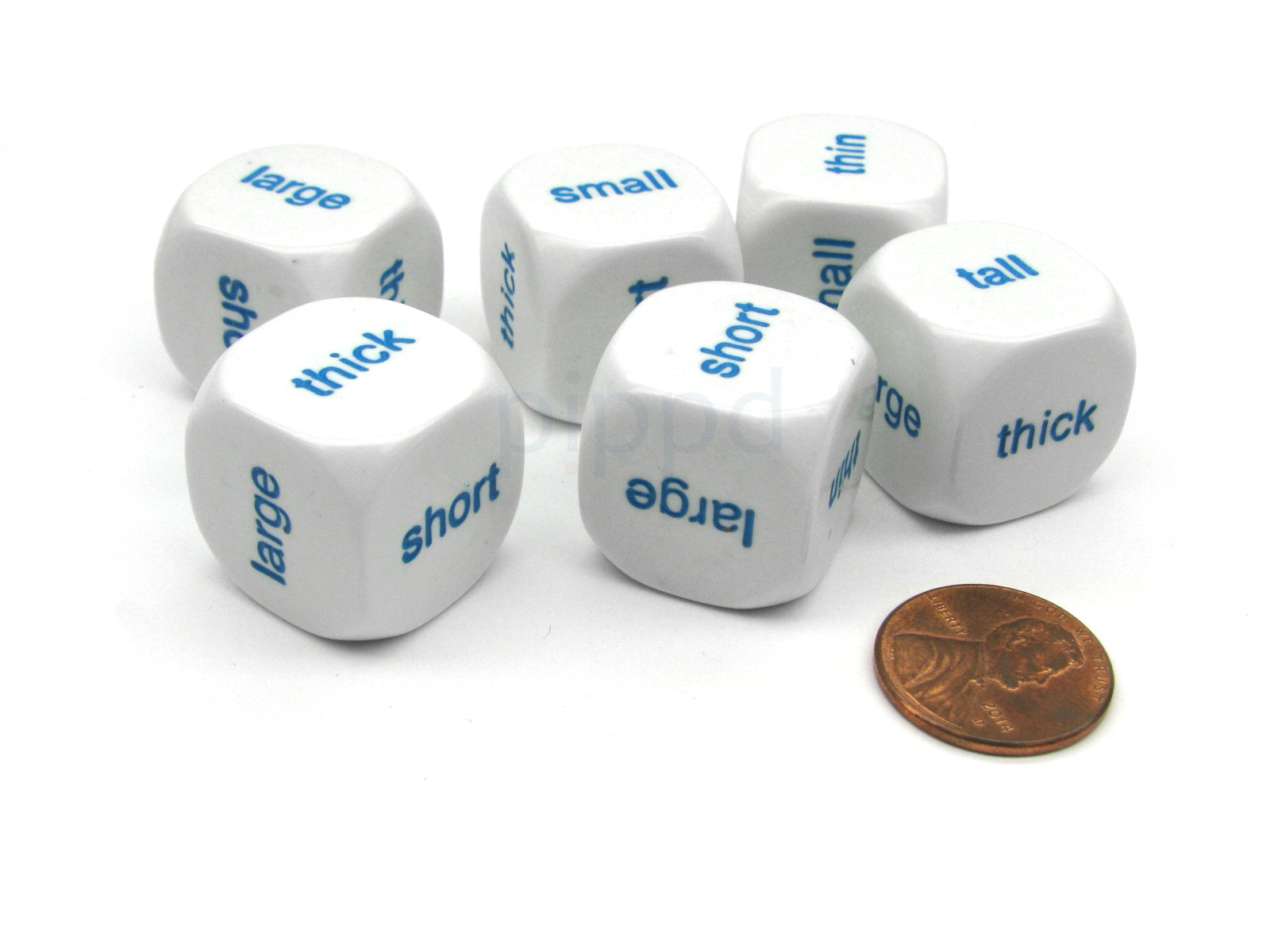 Pack of 6 20mm English Comparison Dice - Large Small Tall Short Thick Thin