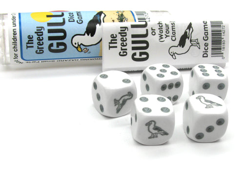 The Greedy Gull Dice Game 5 Dice Set with Travel Tube and Instructions
